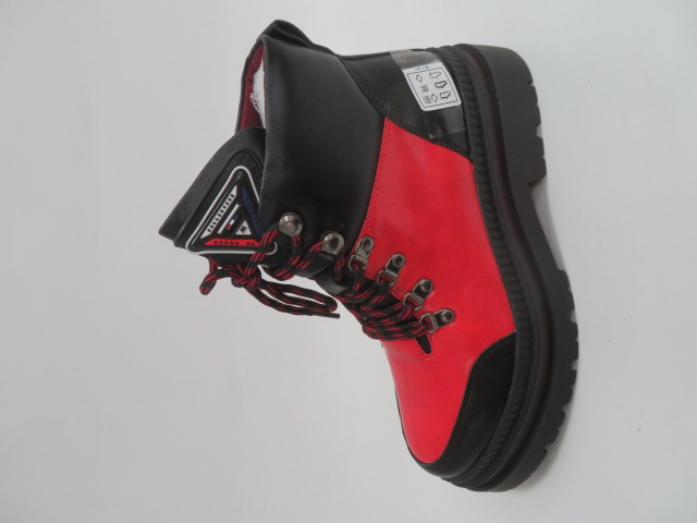 Botki Damskie F19-7796, Black/Red, 36-41