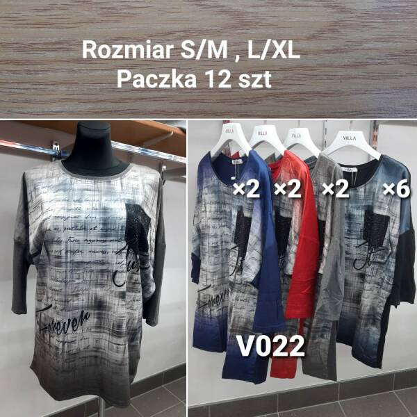 Bluzka Damska V022 MIX KOLOR S/M-L/XL