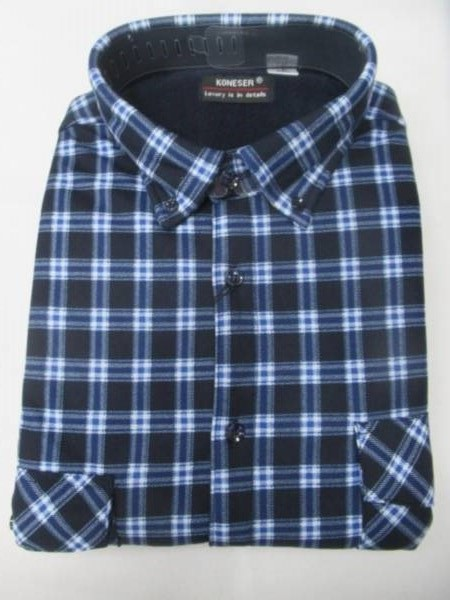 Koszula Męska Długi Rękaw TT049A 1 KOLOR M-3XL OCIEPLANA