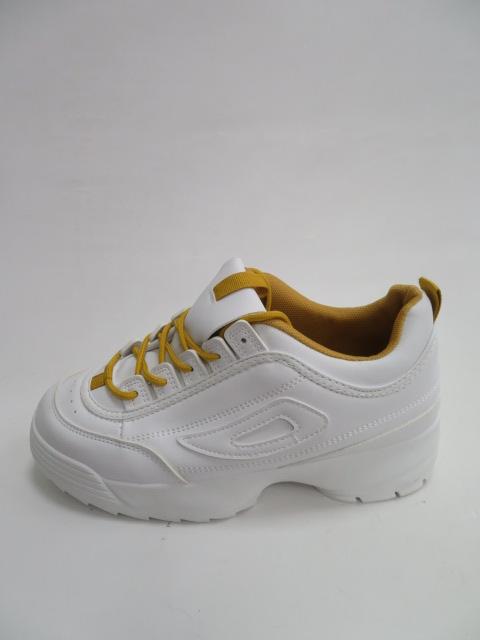 Sportowe Damskie B-02, White/Yellow, 36-41